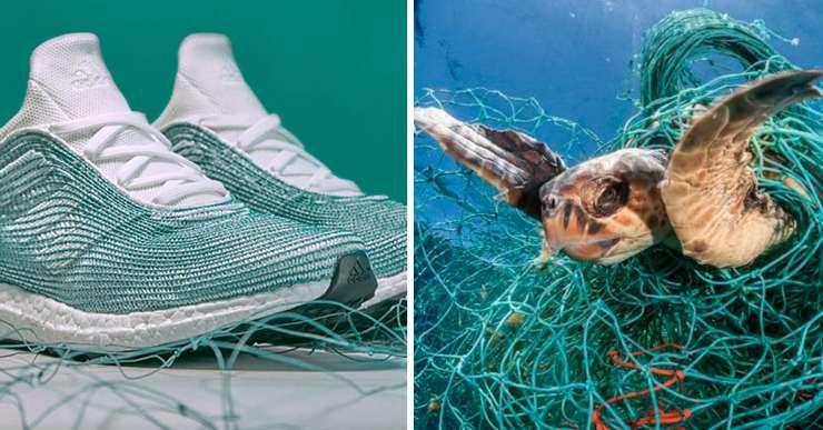 Scarpe create con scarti di reti dei pescatori