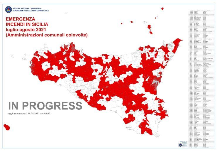 emergenza incendi sicilia 2021